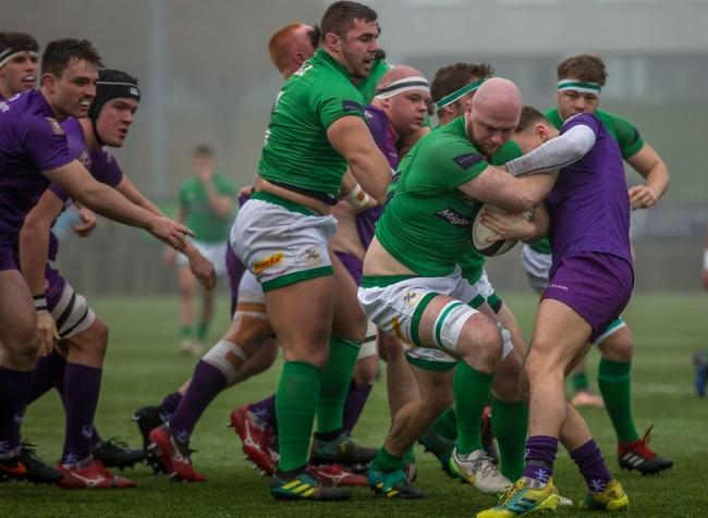 Wharfedale's Josh Burridge, who scored a try against Loughborough, bulls through the defence. Picture: Ro Burridge