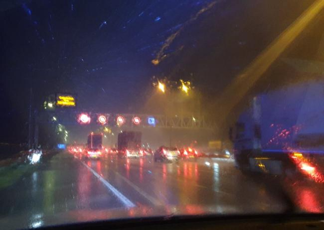Traffic Dave tweeted this picture showing how poor visibility was on the M62 tonight