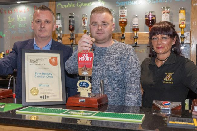 East Bierley Cricket Club has been named club of the season for Autumn 2019 by the Heavy Woollen Camra branch