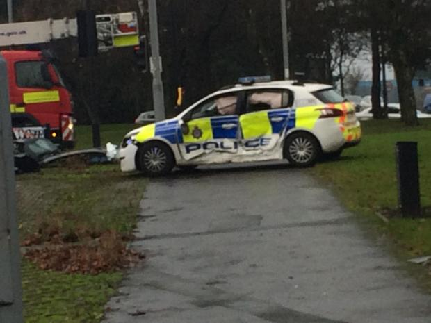 Bradford Telegraph and Argus: The police car involved