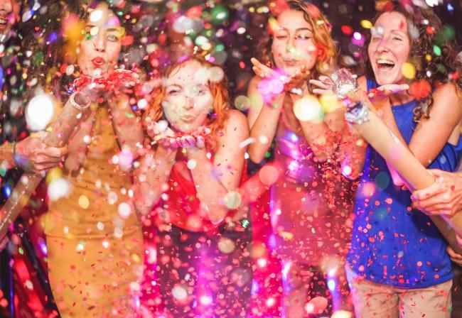 Revellers wait for the perfect social media shot on New Year's Eve