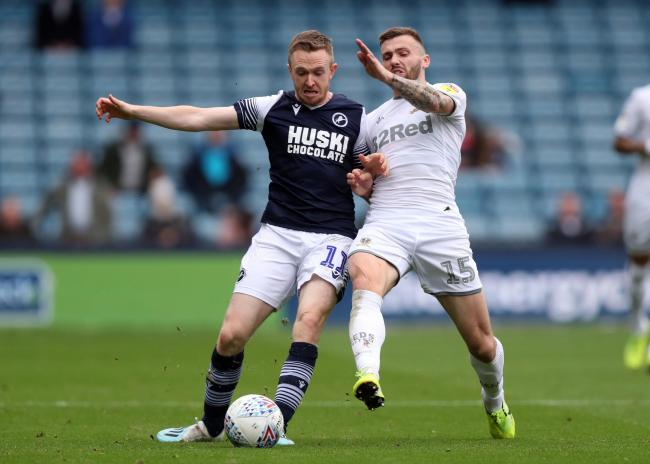 Leeds United's Stuart Dallas, right, scored a late equaliser against Preston
