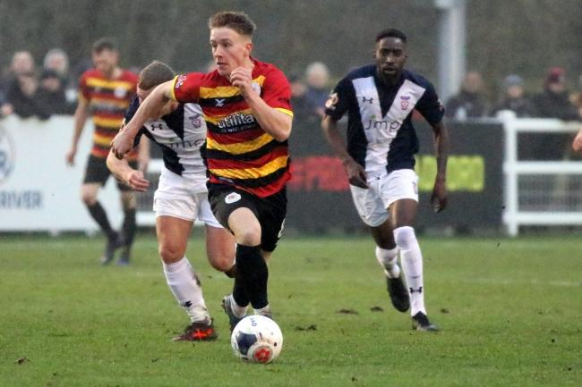 Alex Hurst in full flow for Bradford (Park Avenue) against York City on Boxing Day Picture: John Rhodes
