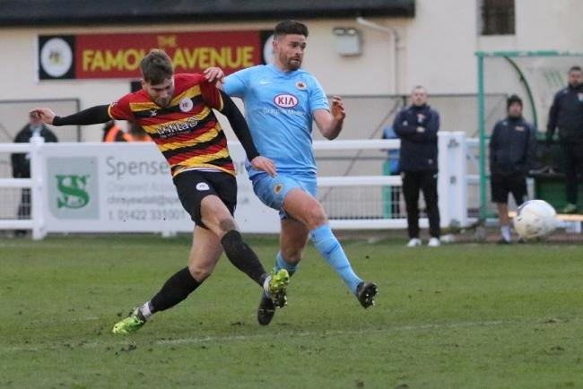 Tom Clare (left) scored the only goal of the game as Bradford beat King's Lynn Picture: John Rhodes
