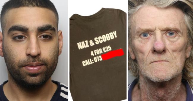 Hussain (left) and Hodgson (right) were jailed at Bradford Crown Court yesterday. Centre, the t-shirt used to advertise the Scooby Line