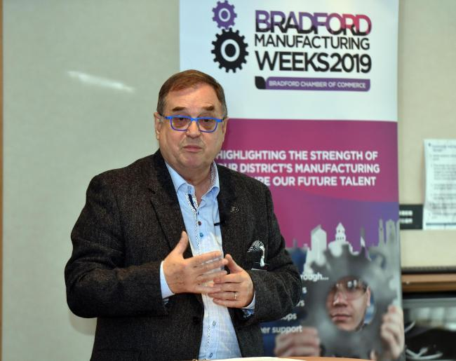 Roger Marsh speaking at the launch Solens of Bradford Manufacturing week..