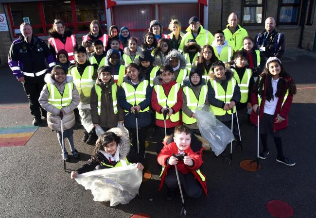 Pupils at St Stephen's Primary School, West Bowling, ready to litter pick