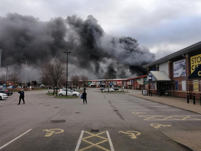 A picture from the twitter feed of @YorkshireDaveUK of the fire in Wakefield