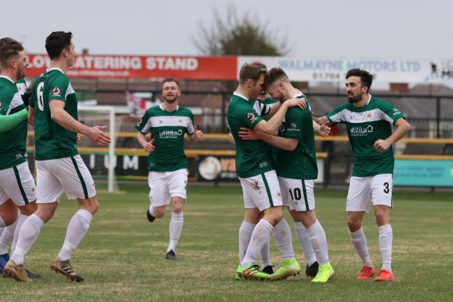 Bradford (Park Avenue) celebrate Lewis Knight's goal during their impressive draw at Southport. They will hope a similar performance can produce a win in their crucial clash with Gloucester City tomorrow Picture: John Rhodes