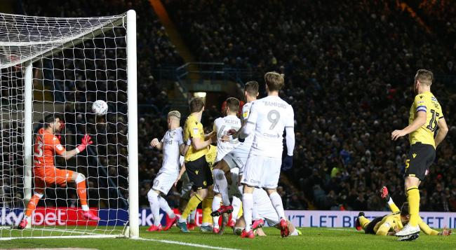 Shaun Hutchinson (hidden) scores to put Millwall 1-0 up at Leeds in the Championship clash at Elland Road last month    Picture: Nigel French/PA Wire