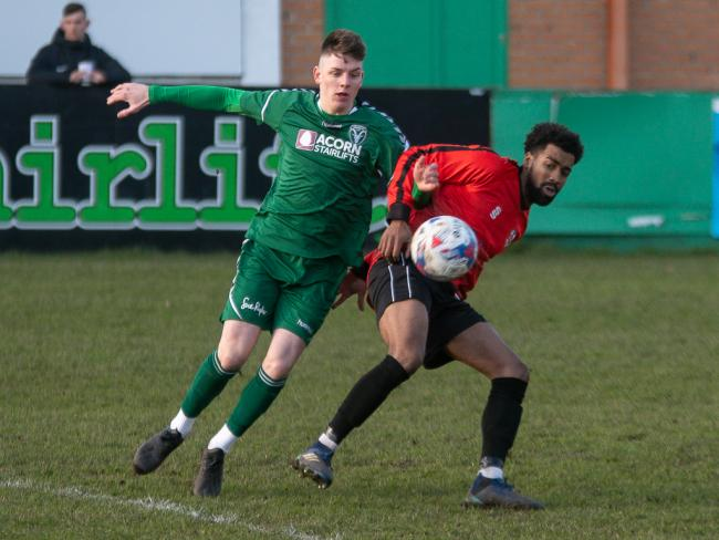 Luke Baldwin (left) will not get the chance to add to his eight goals this season for Steeton tomorrow, after their home game against AFC Blackpool was called off due to a waterlogged pitch Picture: John Chapman