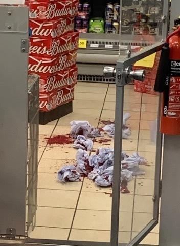 Blood on the floor at the Londis shop on Tadcaster Road, York. Picture: Harry Robson