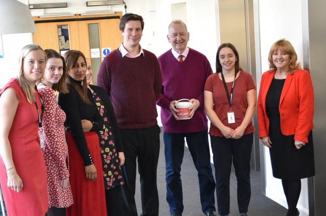 Geraldine Howley, right, with Incommunities colleagues taking part in the Wear Red Day