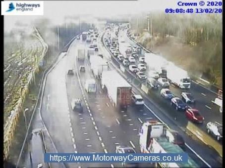 A multi-vehicle crash on the M62 is causing slow traffic. Pic: Highways England