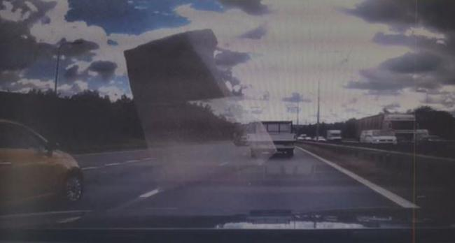 A still from the dashcam showing the polystyrene flying past