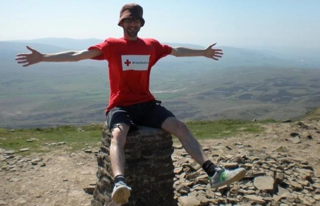 A British Red Cross fundraiser - the charity is seeking walkers for its Yorkshire Three Peaks Challenge