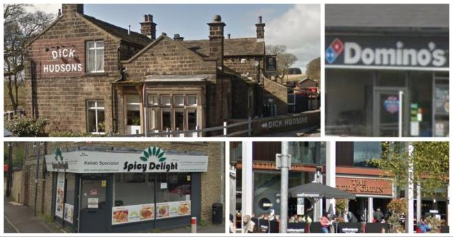 Some of this week's establishments in Bradford district given their food hygiene ratings this week. Pictures: Google Street View
