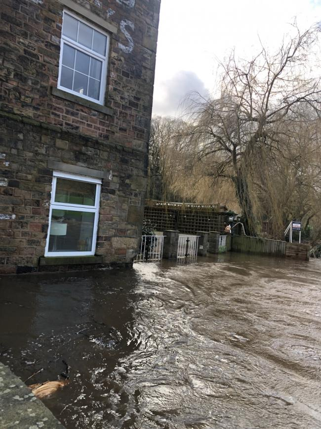 Flooding in Saltaire from when Storm Ciara hit.
