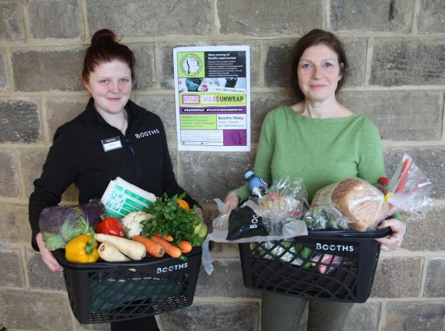 Rebecca Jordon from Booths Supermarket and Louise Miller from Wharfedale Tackles Plastic with packaged and unpackaged shopping