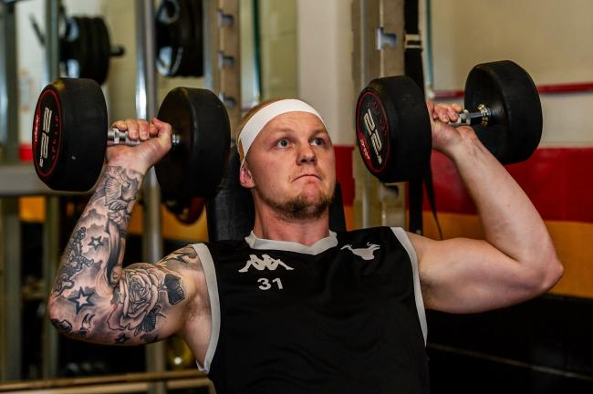 Rhys Evans doing some weights in pre-season at Tong before he signed for Leeds. Pic: Tom Pearson