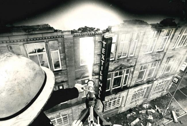 A fire ravaged Bradford's Textile Hall in August 1981