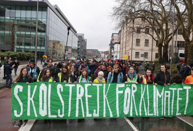 Environmental activist Greta Thunberg joins the Bristol Youth Strike 4 Climate protest. Picture: Andrew Matthews/PA Wire