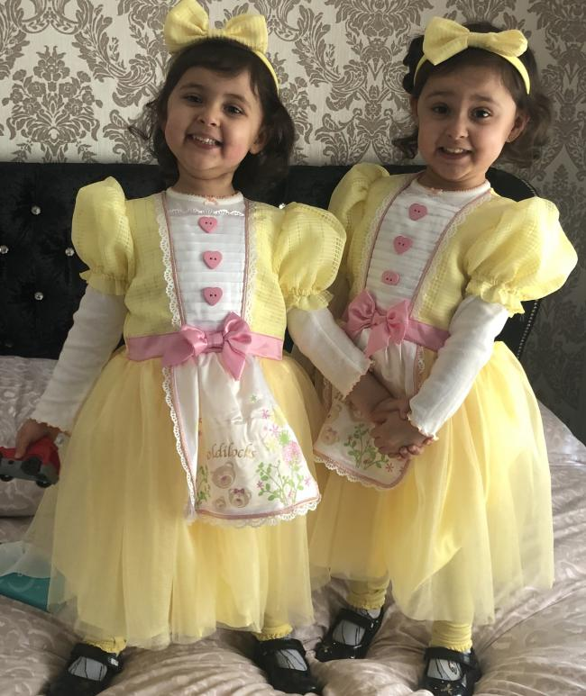 Photo of my Twinnies Aizah & Faizah Rehman ready to attend Strong Close School in Keighley