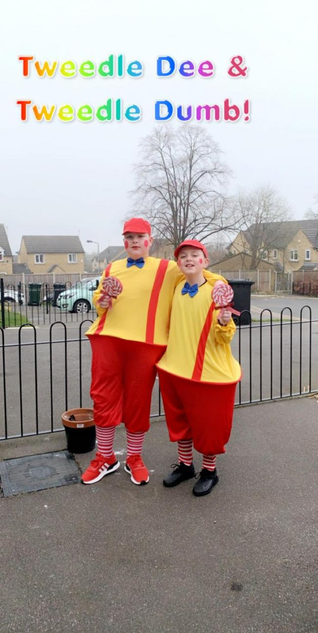 Alfie 11 & Bobby-Joe 10 cousins from Idle as Tweedle Dee & Tweedle Dum for world book day 2020