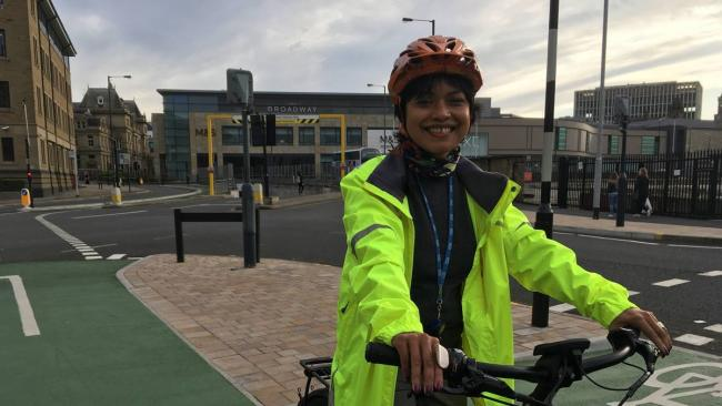 Hawarun Hussain cycling to work in Bradford from her home in Saltaire