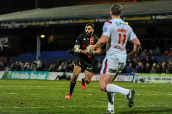 Anthony England in action for Bulls in their last competitive game, against Wakefield in March 2020. Picture: Tom Pearson.