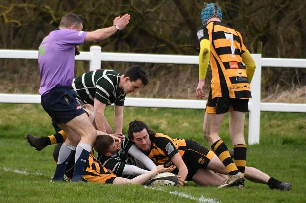 Old Grovians v Wensleydale: Max Kennedy scores the first try