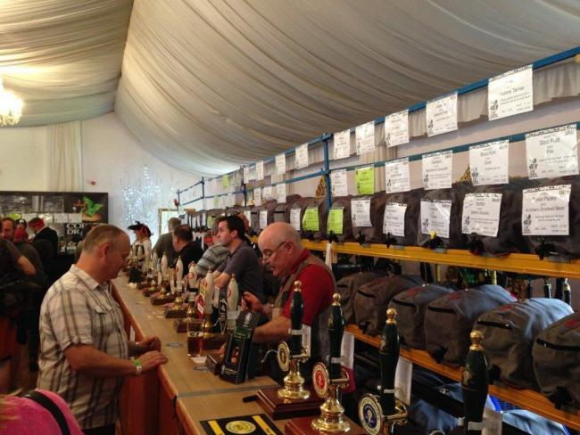 Drinkers at a previous Skipton Beer Festival