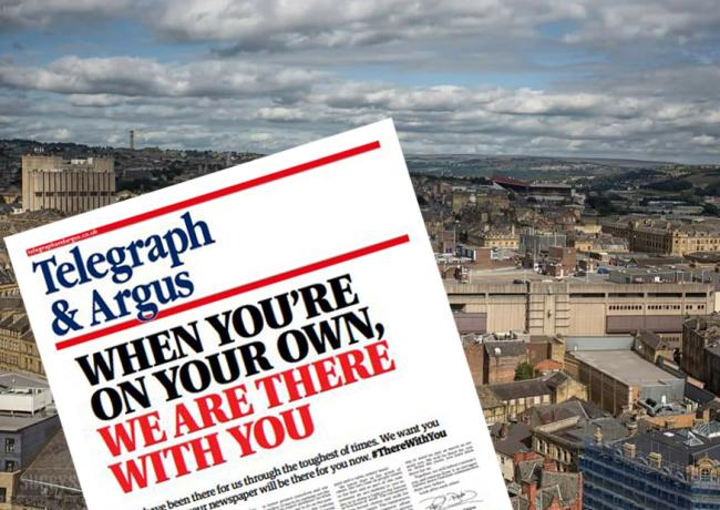 The front page of today's Telegraph & Argus. Background picture: Simon Sugden