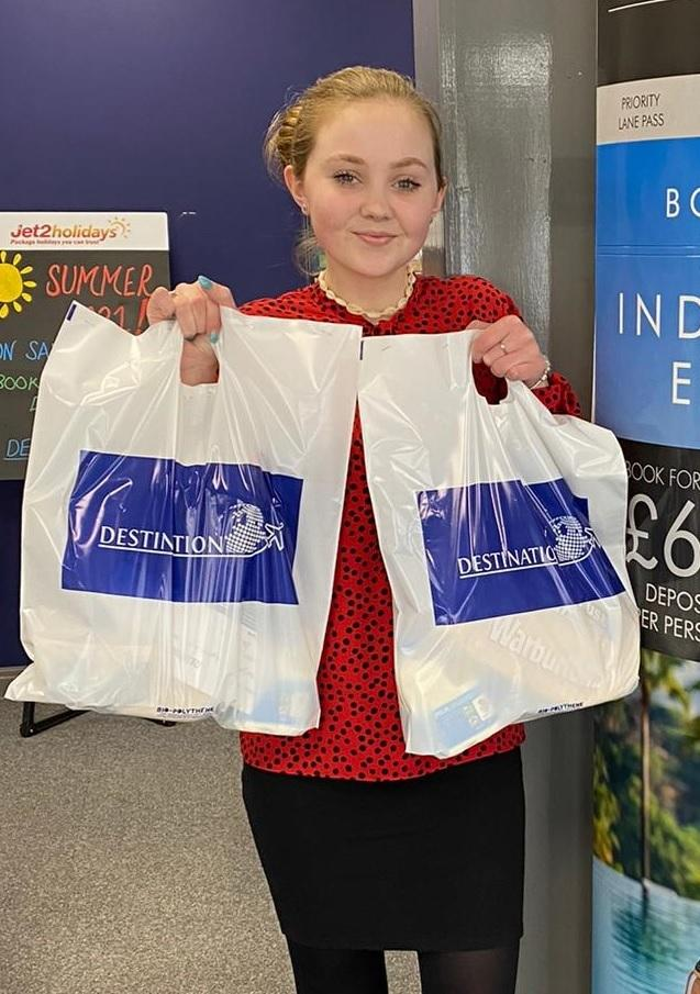 Destination apprentice Lucy Flesher with some of the essentials packs