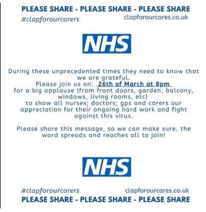 Nationwide round of applause planned for our NHS heroes