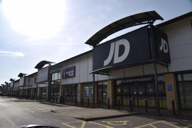 "A selection of ""non-essential"" stores at the Bradford Forster Square Retail Park."