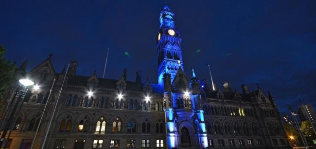 City Hall - lit in blue