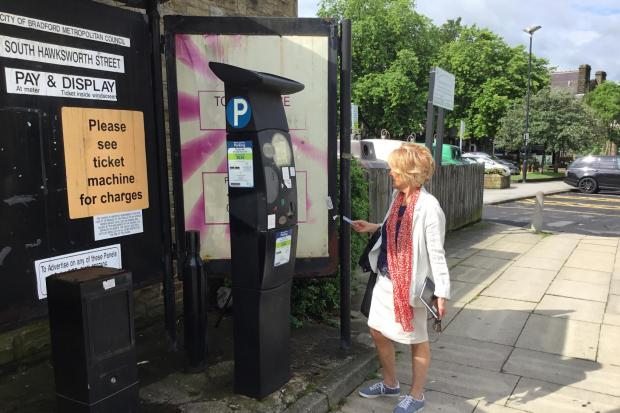 Cllr Anne Hawkesworth (Ind, Ilkley) in Ilkley's central carpark where parking charges have now been suspended by Bradford Council