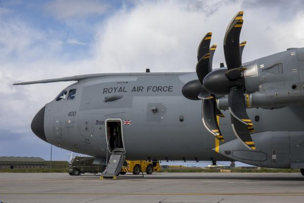 Bradford Telegraph and Argus: This is an Airbus A400M Atlas, the type of airfact seen over Glasgow in recent weeks (Image: RAF)