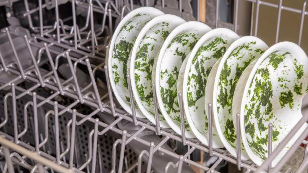 Bradford Telegraph and Argus: It's hard for your dishwasher to remove dried-on food—and spinach is the worst. If you can't run a full normal cycle right away, at least start a rinse cycle. Credit: Reviewed / Jonathan Chan