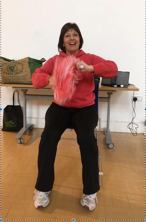 Janet Bairstow is leading the DFK exercise class