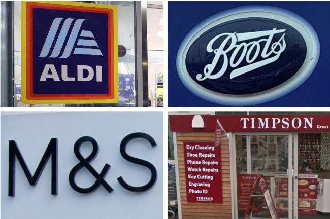 High street stores: Aldi, Boots, M&S and Timpson. Picture: Newsquest