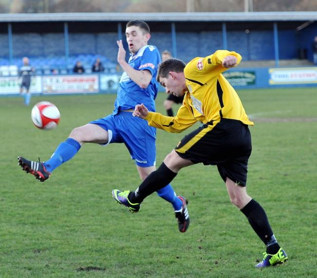 Ross Daly (in blue) in action for Farsley Celtic in 2017 Picture: Tom Smith