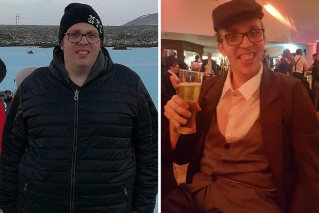 Super slimmer Craig Berry before (left) and after losing seven stone at the Low Moor Slimming World group