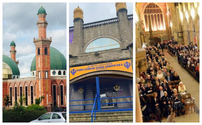 L-R: Bradford Grand Mosque, Guru Gobind Singh Gurdwara and Bradford Cathedral can all re-open for 'private prayer' from today