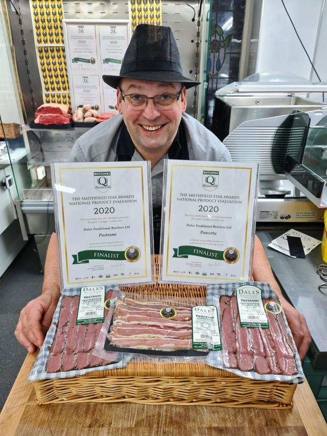 Mark Duckworth, Dales Traditional Butchers, with his Smithfield award