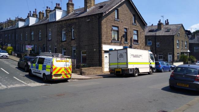 Police and the bomb squad at Percy Street