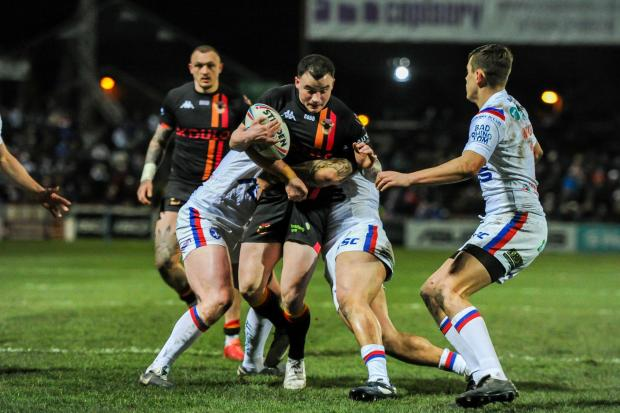Bradford Telegraph and Argus: Jordan Lilley, centre, for Bradford Bulls earlier this season before the pandemic brought an end to their action for 2020