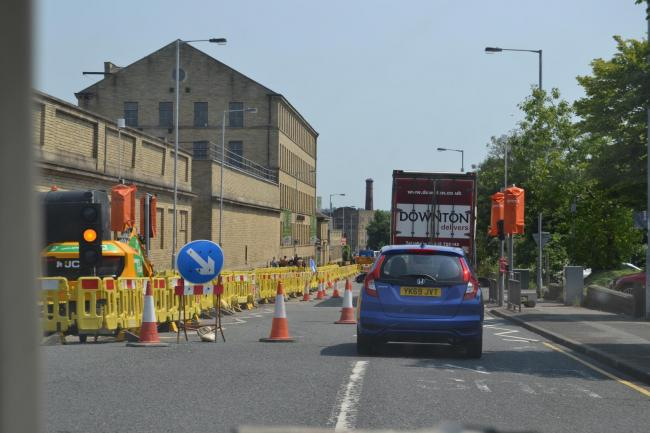 Vehicles using the bus lane on Thornton Road because of the roadworks contraflow at the end of June