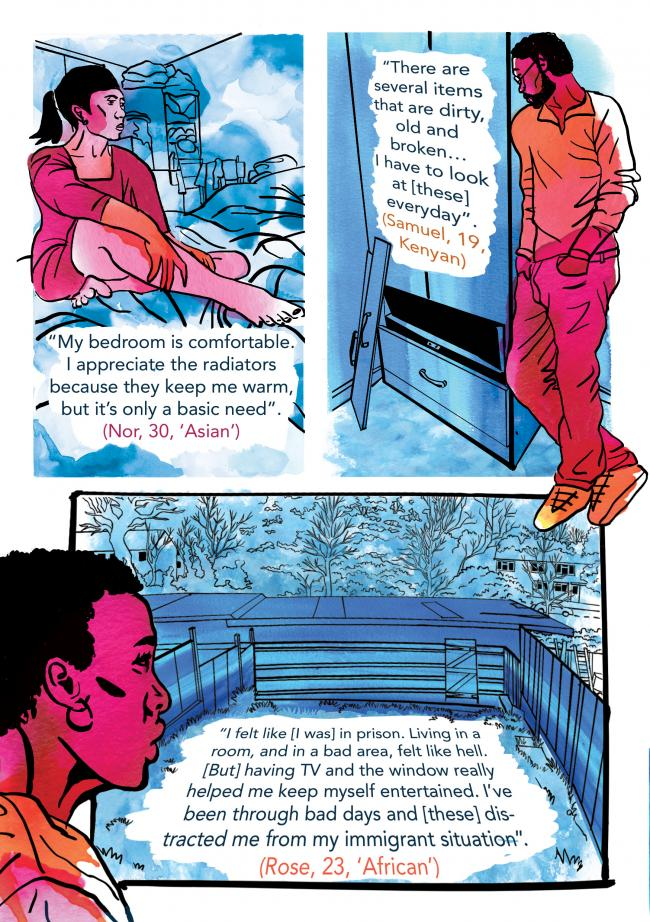 Poor housing conditions migrants are faced with when they first arrive in the UK have been captured in a comic strip as part of a study by academics at Leeds Beckett University